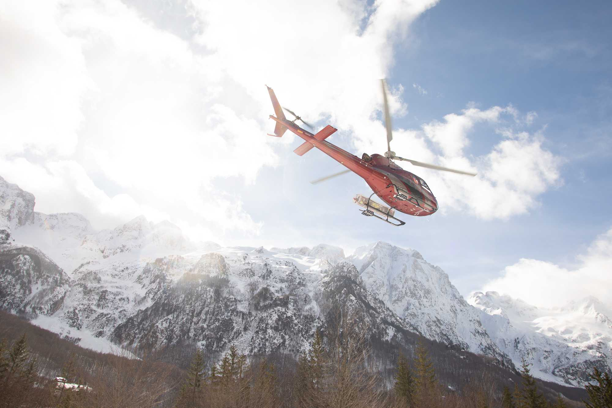 Helicopter in the Albanian Alps
